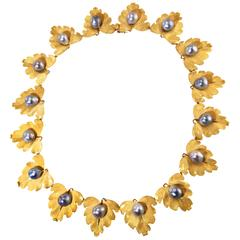 Buccellati Cultured Pearl Gold Foliate Necklace