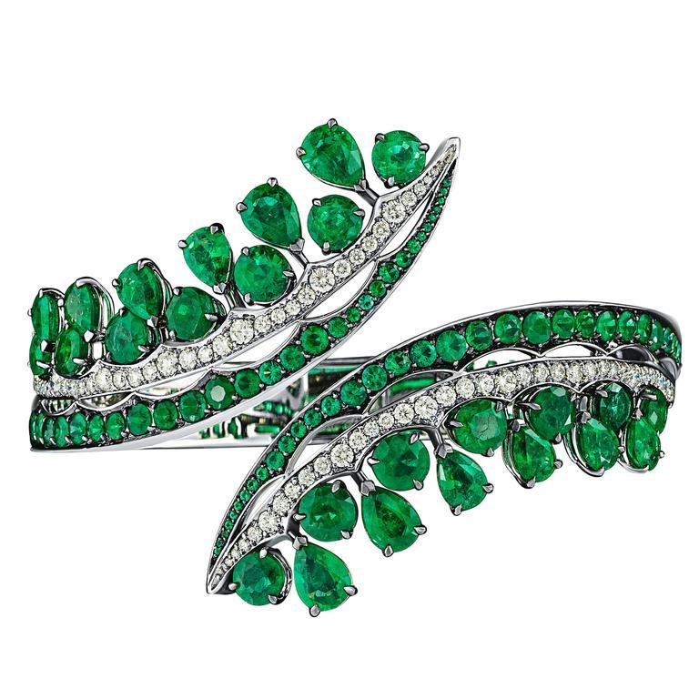 White Gold, White Diamonds and Gemfield Emeralds Cuff Bangle Bracelet