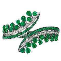 White Gold, White Diamonds and Gemfield Emeralds Cuff Bangle Bracelet
