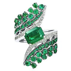 Vanleles Diamond Gemfield Emerald Legends of Africa High End Ring
