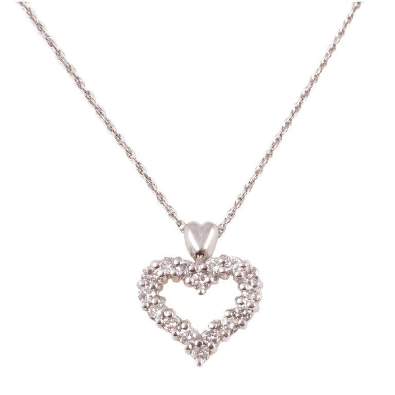 Diamond Heart Pendant Platinum For Sale