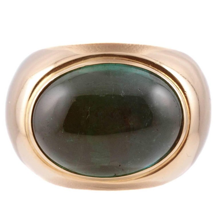 Green Tourmaline Yellow Gold Ring For Sale