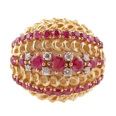 Italian 1.00 Carat Ruby Diamond Ring Yellow Gold