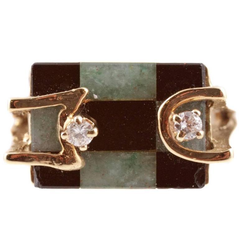 Hardstone Diamond Yellow Gold Ring