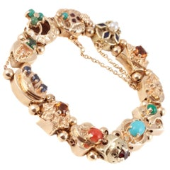Multi Gemstone Slide Bracelet Yellow Gold