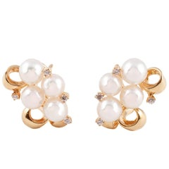 Mikimoto Cultured Pearl Diamond Earrings