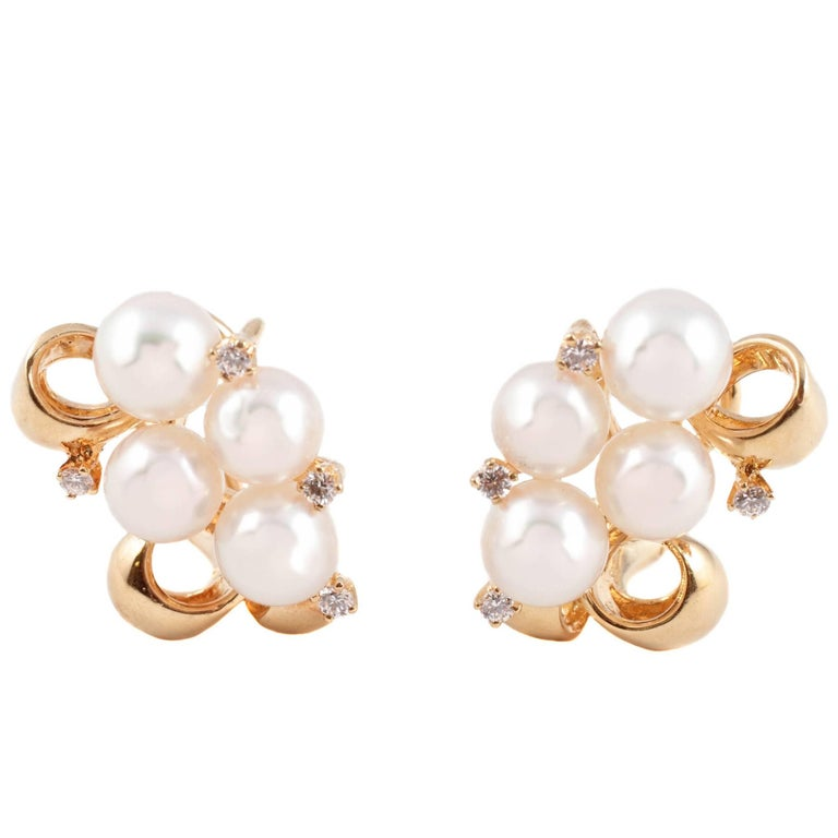 Mikimoto Cultured Pearl Diamond Earrings For