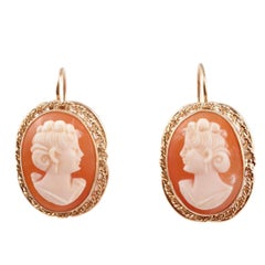 Shell Cameo Earrings Yellow Gold