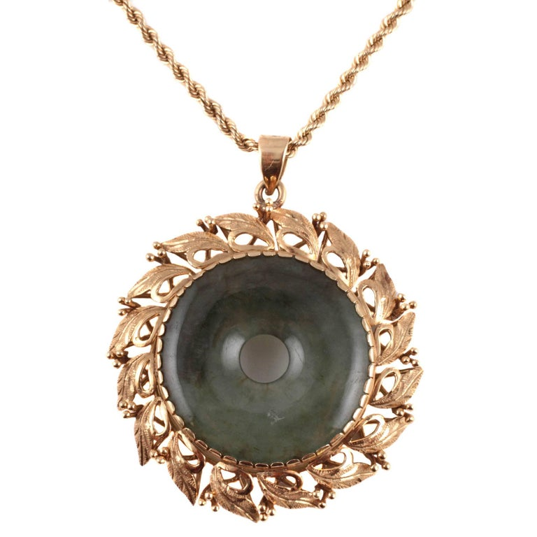 Natural Jadeite Yellow Gold Necklace