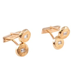1.00 Carat Diamond Yellow Gold Cufflinks