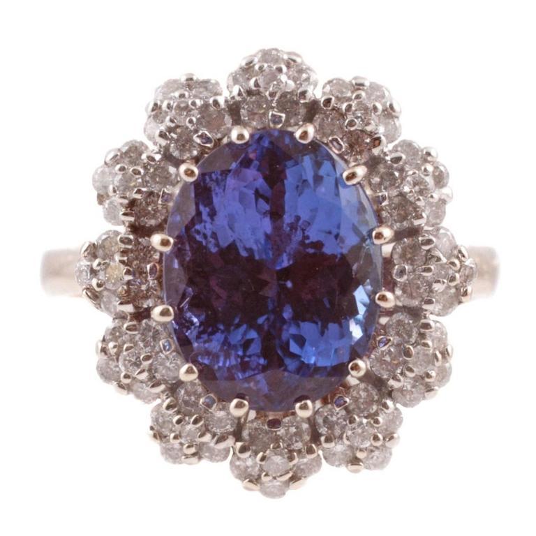 4.59 Carat Tanzanite and 0.75 Carat Diamond Gold Ring
