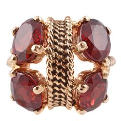 Garnet Yellow Gold Ring