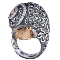 Alex Soldier Diamond Silver Gold Codi the Snail Ring Handmade in NYC