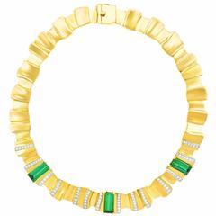 1950s Tourmaline Diamond Gold Necklace