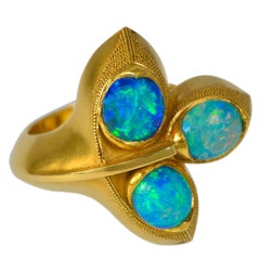 1960s Opal and Granulated Gold Ring