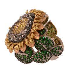 Alex Soldier Garnet Tsavorite Diamond Gold Sunflower Ring