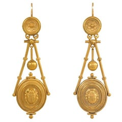 Antique Gold Etruscan Revival Earrings with Scarab Motif Pendants
