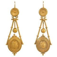 Antique Gold Etruscan Revival Earrings with Scarabs