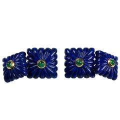 Carved Squared Lapis Lazuli and Emeralds Gold Cufflinks