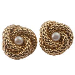 Fope Gold Rope Pearl Earrings
