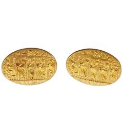 Ilias Lalaounis Yellow Gold Textured Cufflinks