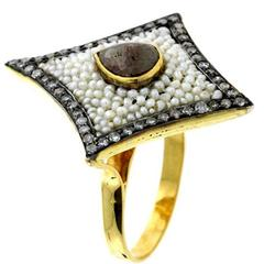 Handmade Pearl Diamond Gold Ring