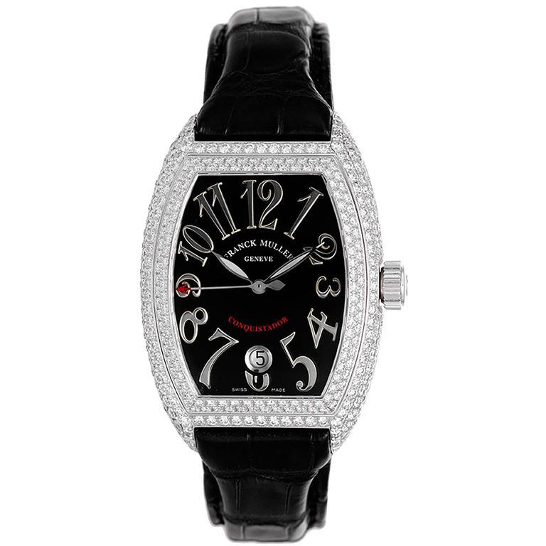 Franck Muller Ladies Conquistador White Gold Diamond Pave Automatic Wristwatch