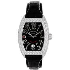 Franck Muller Ladies Conquistador White Gold Diamond Pave Automatic Wristwatch