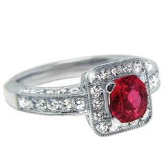 Danuta 1 Carat Pink Sapphire Diamond Platinum Ring