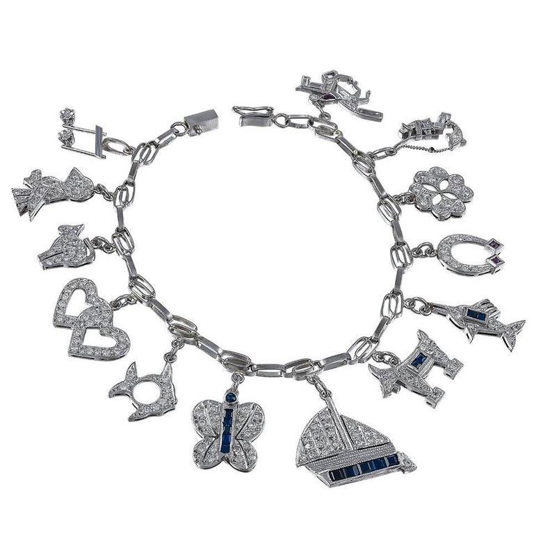 Diamond Platinum Gemset Charm Bracelet