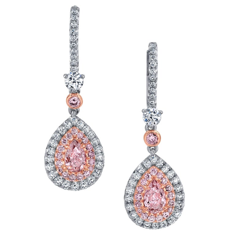 Pink Diamond Earrings Pear Shapes 0.53 Carats  For Sale