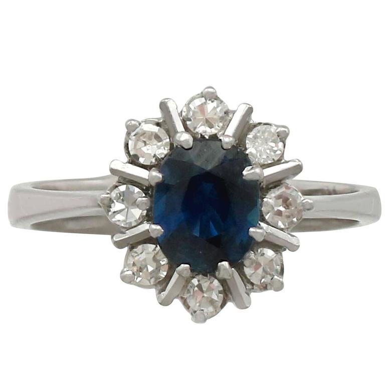 1970s 1.42 Carat Sapphire and Diamond White Gold Ring