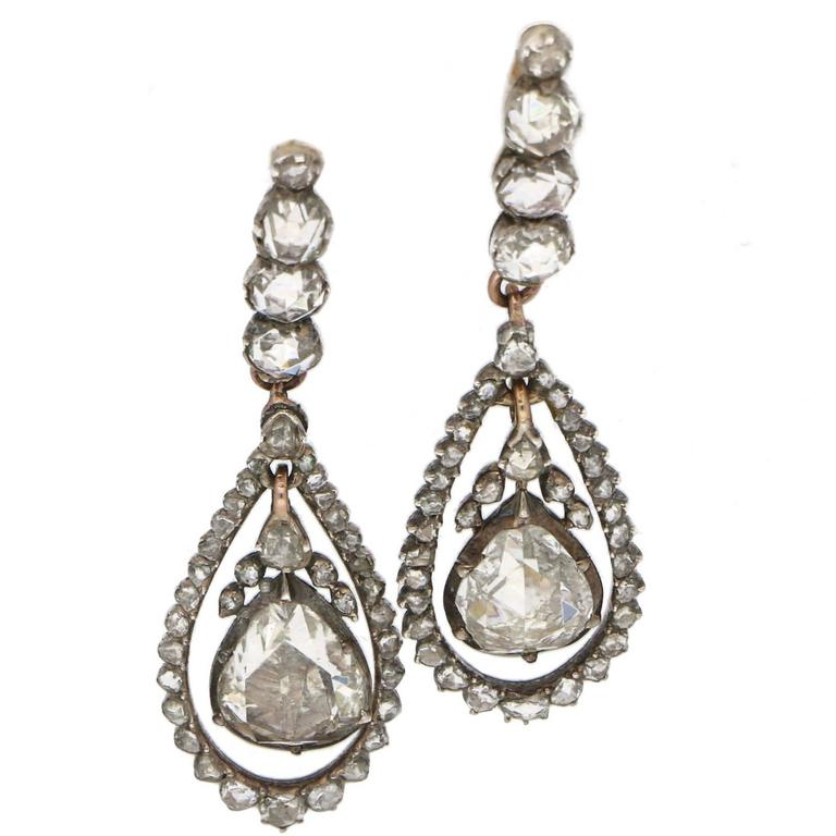 Georgian Rose Cut Diamond Drop Earrings