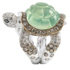 Jewelry Turtle Black Brown White Diamond Prehnite 18Kt Gold Ring