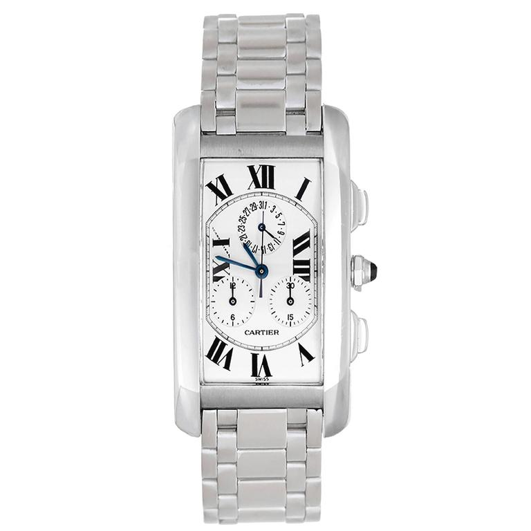 Cartier White Gold Tank Americaine Chronograph Wristwatch Ref W260334