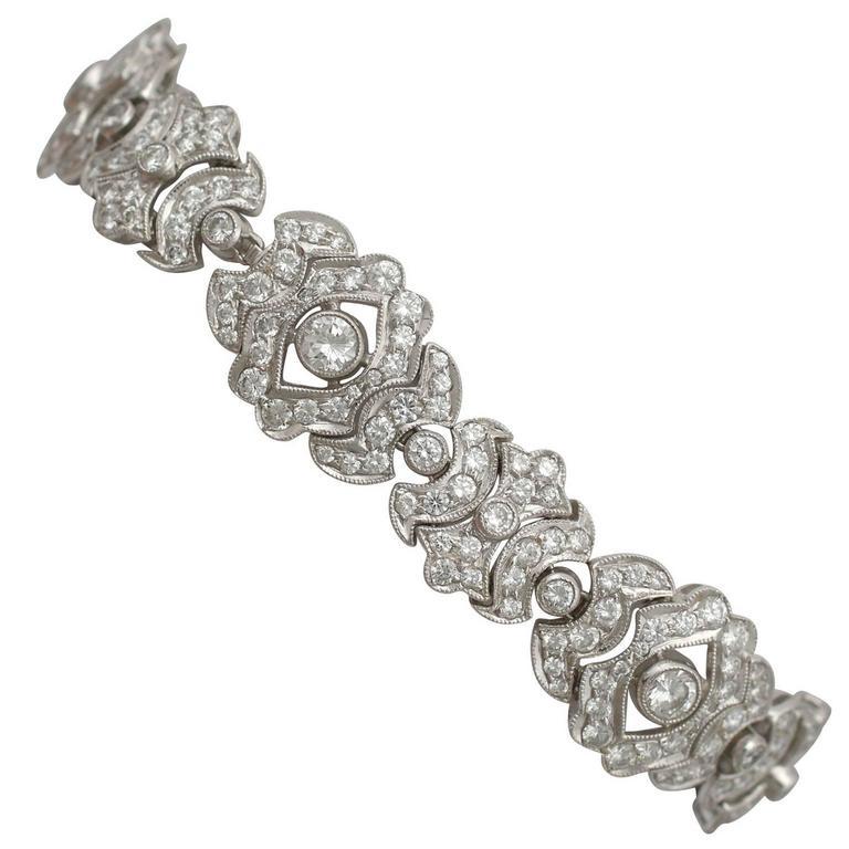1980s 7.22 Carat Diamond and White Gold Bracelet