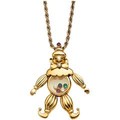 1990s Gold Chopard Gem Set Happy Diamonds Clown Necklace