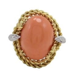 Luise Coral Diamonds Gold Dome Ring