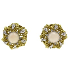 White Diamonds, Pink Coral Buttons, Yellow and White Gold Clip-on Earrings