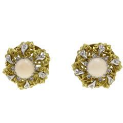 Gold Diamond Coral Earrings