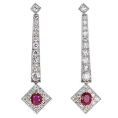 Art Deco Ruby Diamond Platinum Pendant Earrings
