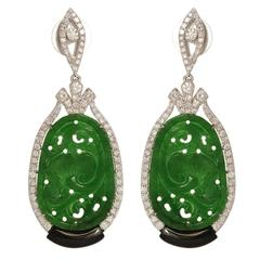 Green Jade Diamond Earrings