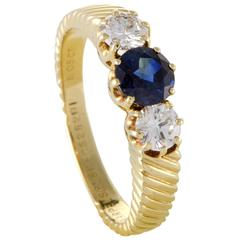 Van Cleef & Arpels Sapphire Diamond Gold Band Ring