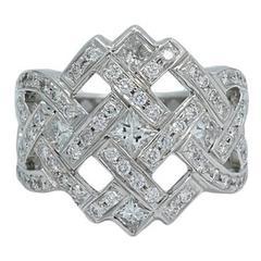 Round and Princess Cut Diamond White Gold Ring