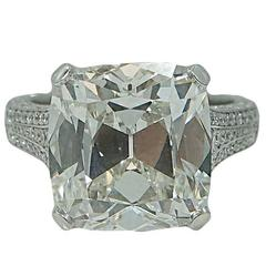 9.16 Carat Antique Cut Cushion Diamond Platinum Engagement Ring