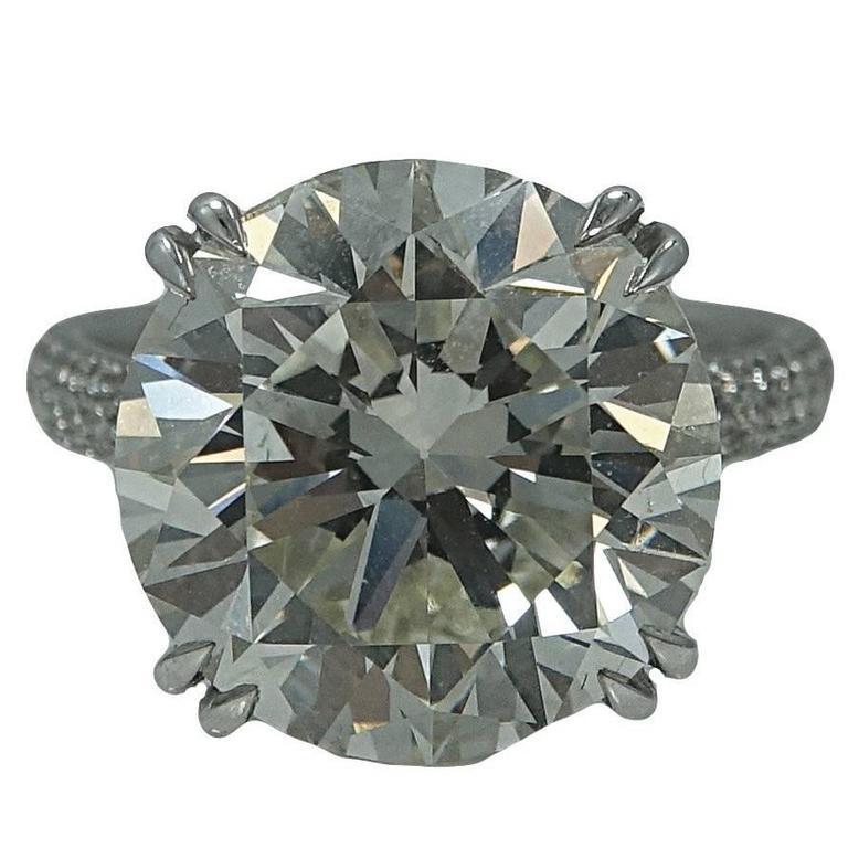 10.36 Carat Round Brilliant Diamond Platinum Engagement Ring