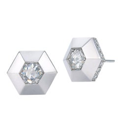 Fred Leighton Rose Cut Diamond Rimmed Hexagonal Platinum Stud Earrings