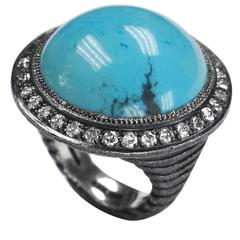 Turquoise Diamond Oxidized Silver Textured Ring One of a Kind Handmade in NYC