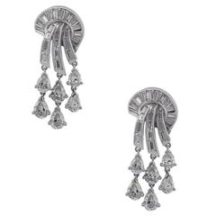 5.50 Carat Diamond Platinum Dangle Earrings