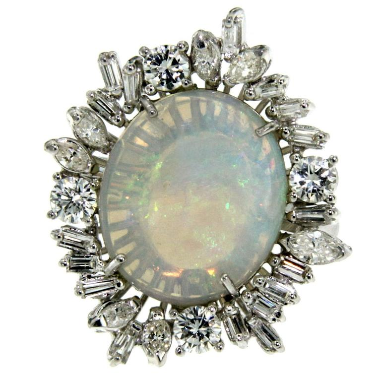 Opal Diamond Cluster Cocktail Ring